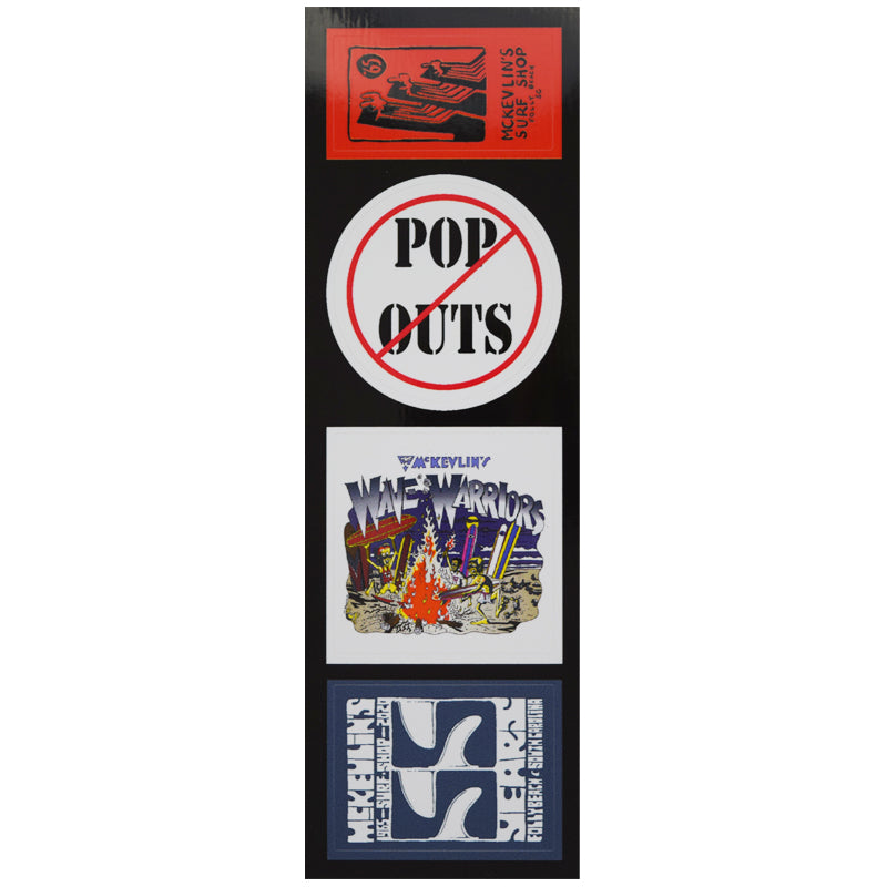 McKevlin's - No Pop-Outs Sticker Strip - MCKEVLIN'S SURF SHOP