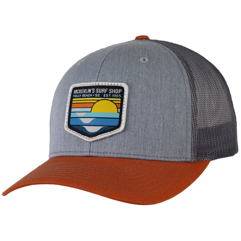 McKevlin's - Park Patch Trucker Hat - Heather Grey/Charcoal/Dark Orange