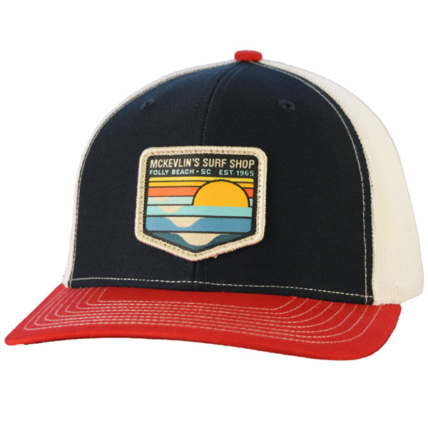 McKevlin's - Park Patch Trucker Hat - Navy/White/Red - MCKEVLIN'S SURF SHOP