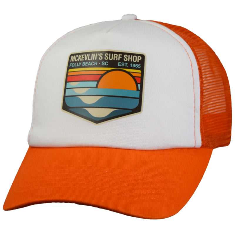 McKevlin's - Park Transfer 2.0 Trucker Hat - Orange/White - MCKEVLIN'S SURF SHOP