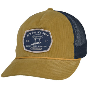 McKevlin's - Stand Up Cord Trucker Hat - Amber Gold/Navy