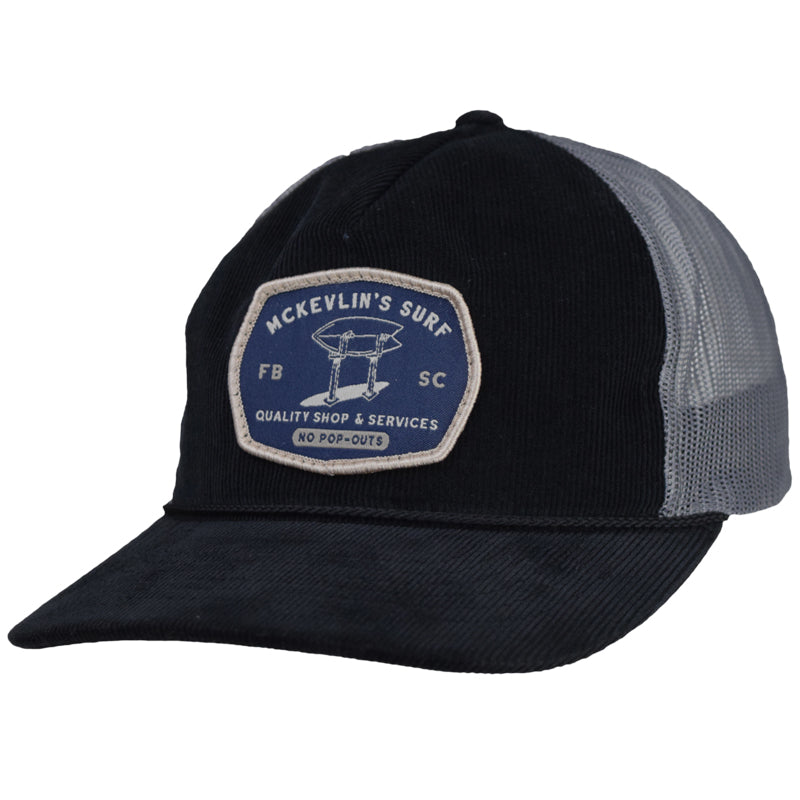 McKevlin's - Stand Up Cord Trucker Hat - Black/Charcoal