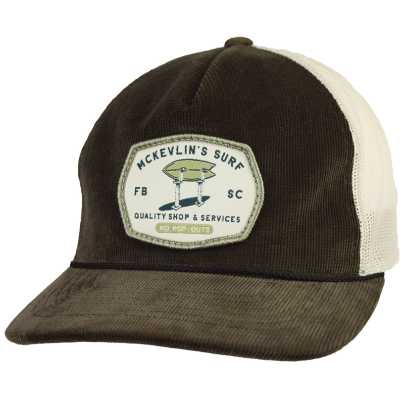 McKevlin's - Stand Up Cord Trucker Hat - Brown/Sand - MCKEVLIN'S SURF SHOP