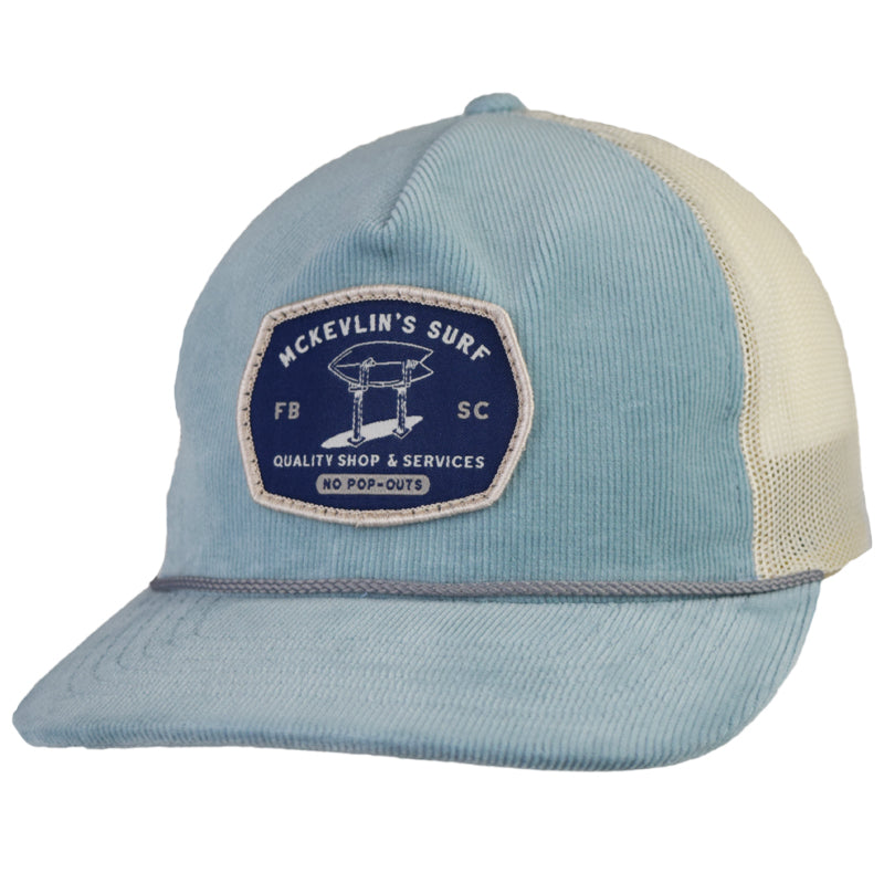 McKevlin's - Stand Up Cord Trucker Hat - Light Blue/Sand - MCKEVLIN'S SURF SHOP