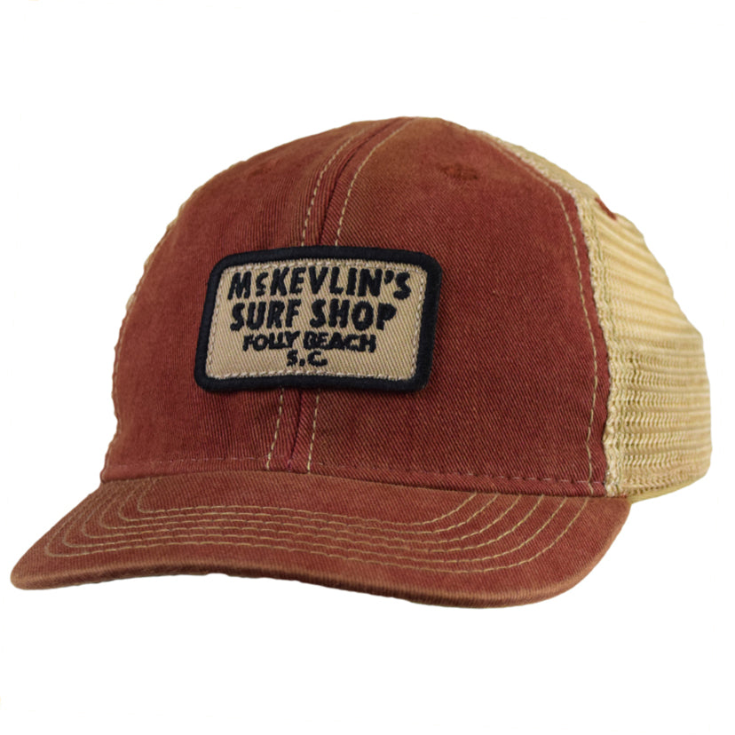 McKevlin's - Toddler Size 65 Patch Trucker Hat - Cardinal Red - MCKEVLIN'S SURF SHOP