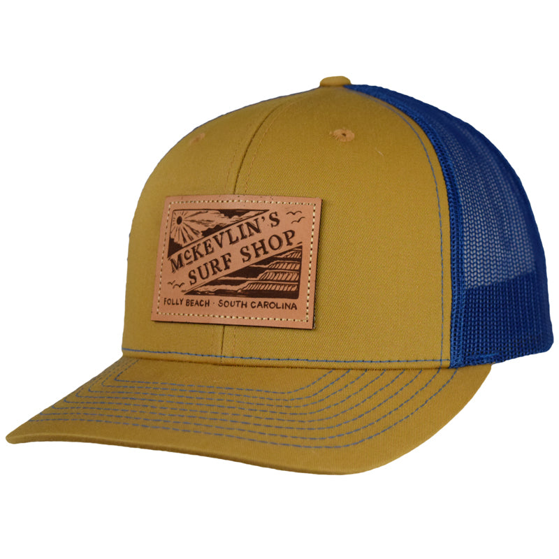 McKevlin's - Vintage Leather Patch Trucker Hat - Biscuit/True Blue - MCKEVLIN'S SURF SHOP