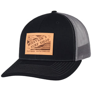 McKevlin's - Vintage Leather Patch Trucker Hat - Black/Charcoal - MCKEVLIN'S SURF SHOP