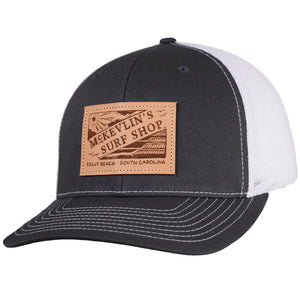 McKevlin's - Vintage Leather Patch Trucker Hat - Charcoal/White - MCKEVLIN'S SURF SHOP
