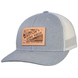 McKevlin's - Vintage Leather Patch Trucker Hat - Heather Grey/Light Grey - MCKEVLIN'S SURF SHOP