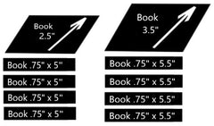 Wood Book Stack Sizes Template (four books)