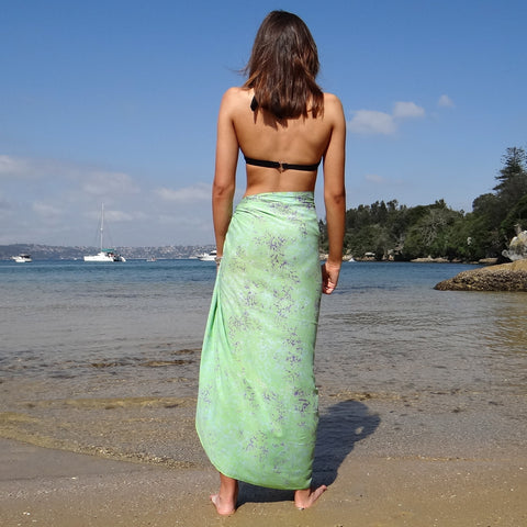 Green with Marbled Purple Sarong