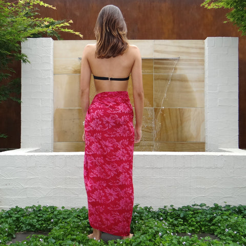 Burnt Red & Pink Sarong
