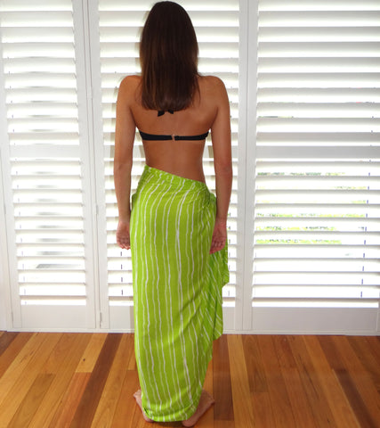 Lime Green Stripe Sarong