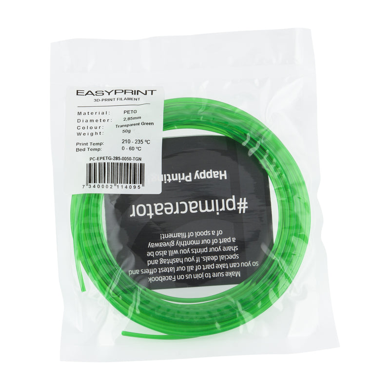 EasyPrint PETG Sample - 2.85mm - 50 g - Transparent Green