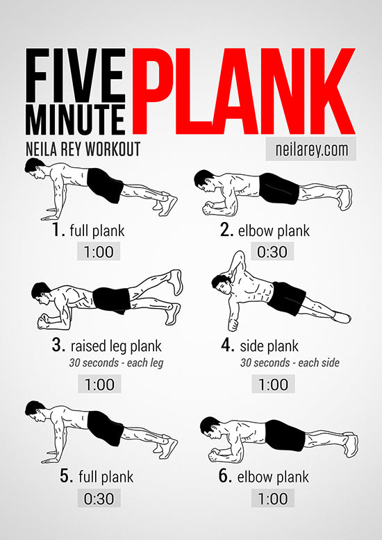 Five minute plank circuit from Neila Ray