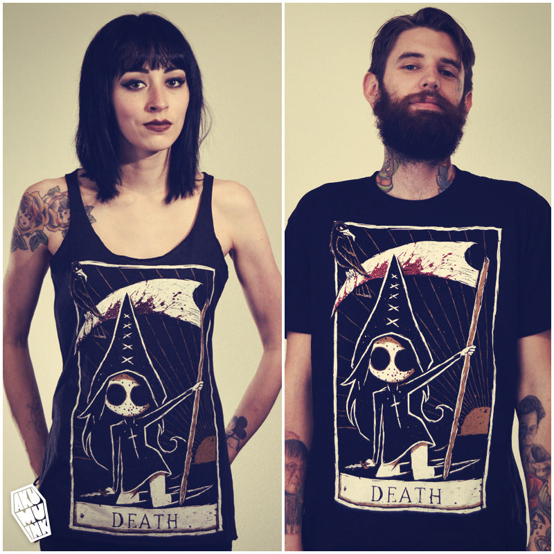 tarot card shirt, death card shirt, death tarot card, goth tarot, emo tarot, nightmare tarot, hockey mask girl shirt, female jason horror, anime jason, occult tshirt