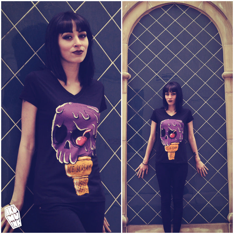 ice cream shirt, ice cream skull, icecream skull shirt, purple icecream, icescream, coffin logo, coffin logo shirt, skull shirt summer, hottopic ice cream, dropdead icecream, akumuink