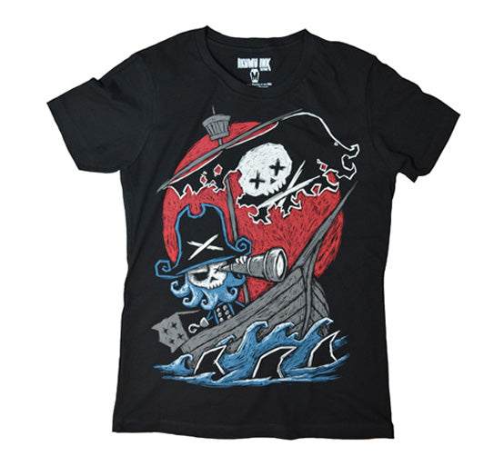 Pirate shirt, goth pirate, pirate art, pirate ship tshirt