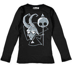 Baphomet Women Long Sleeve Tshirt, Women Shirts, Akumu ink, goth, emo
