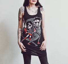 Akumu Ink Us vs. Them Long Tanktop, Women Shirts, Akumu ink, goth, emo