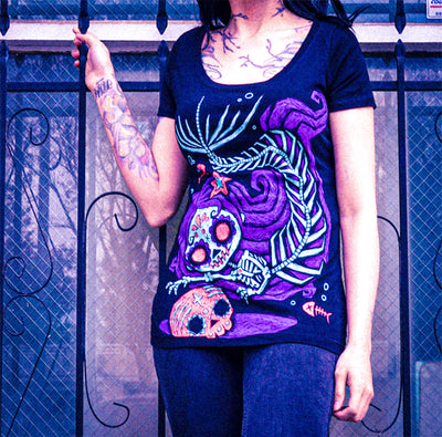 Akumu Ink Treasure Trove Women Scoop Tee, Women Shirts, Akumu ink, goth, emo