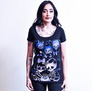 Akumu Ink Play With Spirits Women Scoop Tee, Women Shirts, Akumu ink, goth, emo