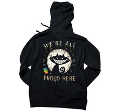 Akumu Ink We're All Proud Here Unisex FLEECE Hoodie, long sleeve, Akumu ink, goth, emo