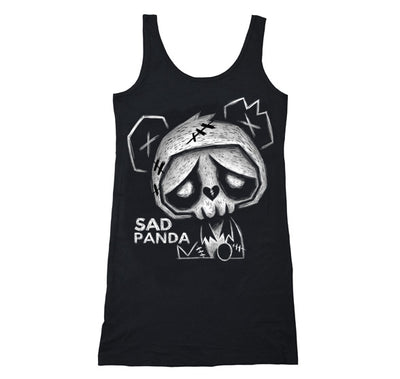 Akumu Ink Sad Panda Long Tanktop, Women Shirts, Akumu ink, goth, emo