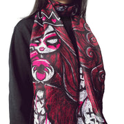 "71""x20"" Queen of Bleeding Hearts Sheer Silky Scarf, Accessories, Akumu ink, goth, emo"