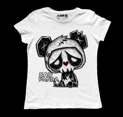 Sad Panda Women White Tshirt, Women Shirts, Akumu ink, goth, emo