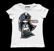 Glitched Women White Tshirt, Women Shirts, Akumu ink, goth, emo