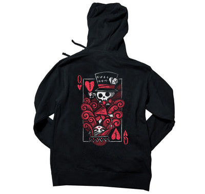 Akumu Ink The Upside Down: Queen Unisex FLEECE Hoodie, long sleeve, Akumu ink, goth, emo