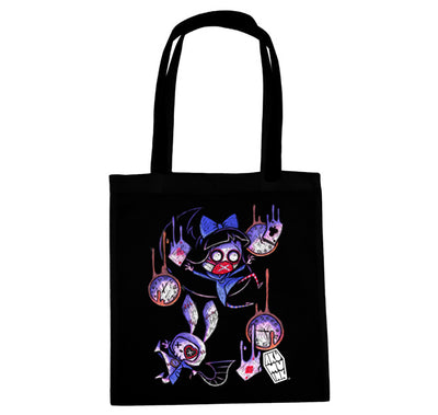 Akumu Ink Down The Rabbit Hole Tote Bag, bag, Akumu ink, goth, emo