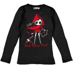 Dead Riding Hood Women Long Sleeve Tshirt, Women Shirts, Akumu ink, goth, emo