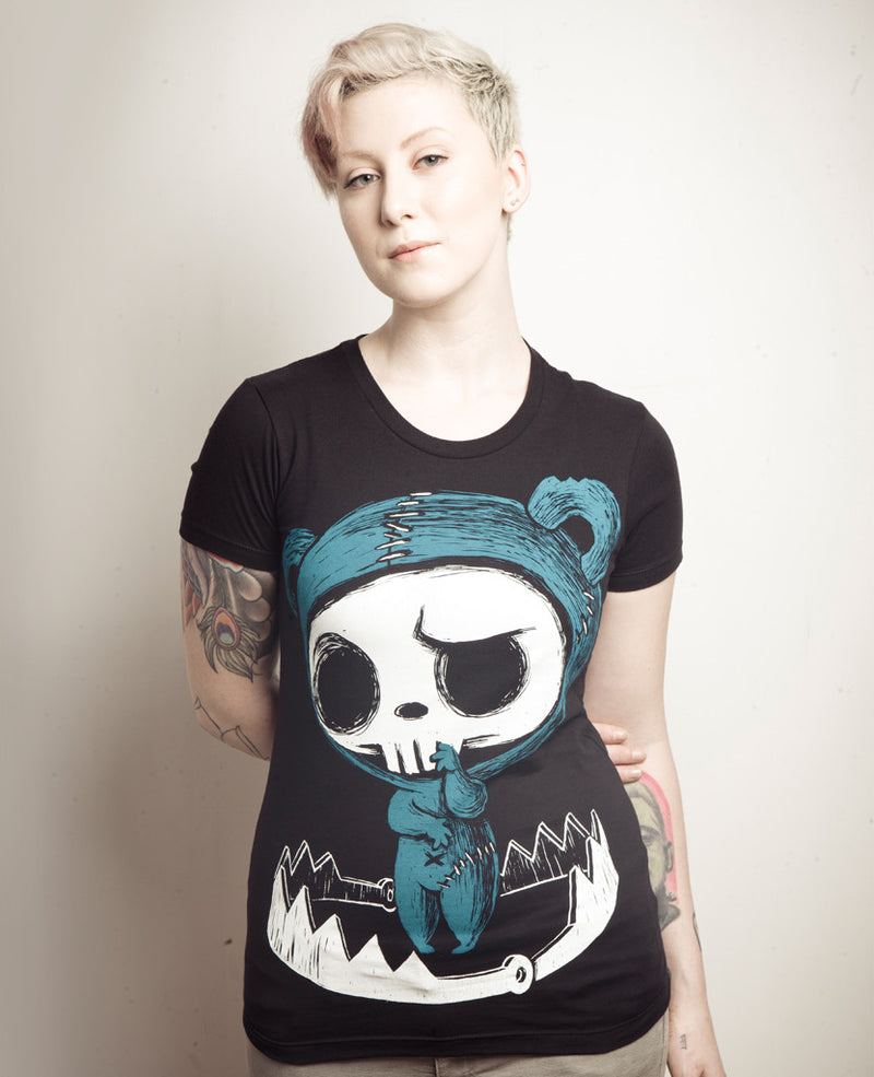 Akumu Ink Bear-Trapped Women Tshirt, Women Shirts (SALE), Akumu ink, goth, emo
