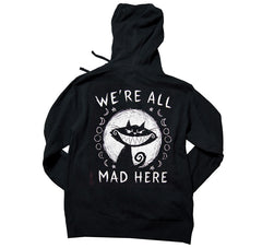 Akumu Ink We're All Mad Here Unisex FLEECE Hoodie, long sleeve, Akumu ink, goth, emo