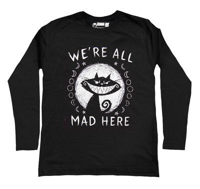 We're All Mad Here Men Long Sleeve Tshirt, Men Shirts, Akumu ink, goth, emo