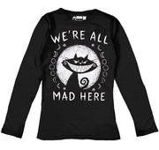We're All Mad Here Women Long Sleeve Tshirt, Women Shirts, Akumu ink, goth, emo