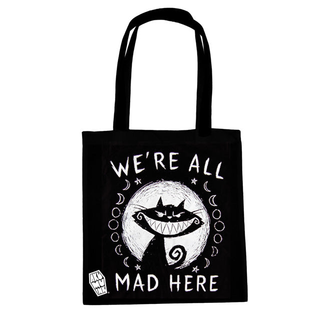 Akumu Ink We're All Mad Here Tote Bag, bag, Akumu ink, goth, emo