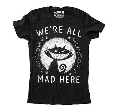 Akumu Ink We're All Mad Here Women Tshirt, Women Shirts, Akumu ink, goth, emo