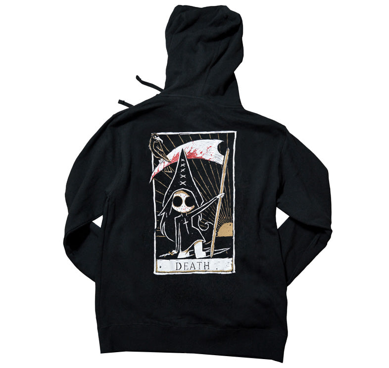Akumu Ink Death Card Unisex FLEECE Hoodie, long sleeve, Akumu ink, goth, emo