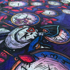 "40""x40"" Alice and the Clock Tree Sheer Silky Scarf, Accessories, Akumu ink, goth, emo"
