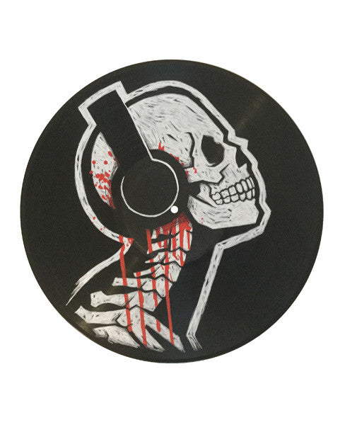 Skull vinyl record, skull vinyl art, skull headphones art, skeleton record art,