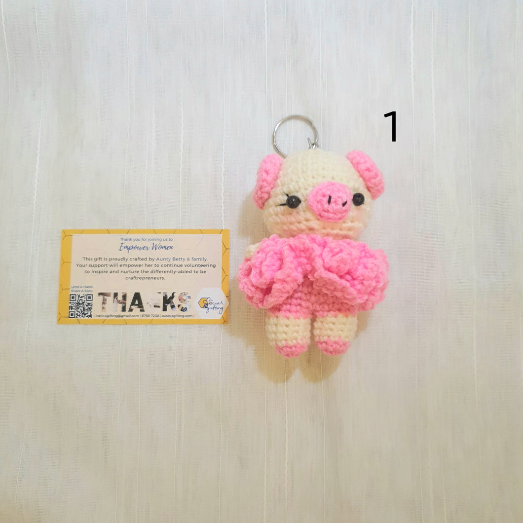 Hand Crocheted Pig with Tutu Key Ring