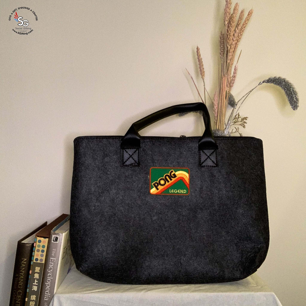 Felt Laptop Bag with Iron-on Patch - B