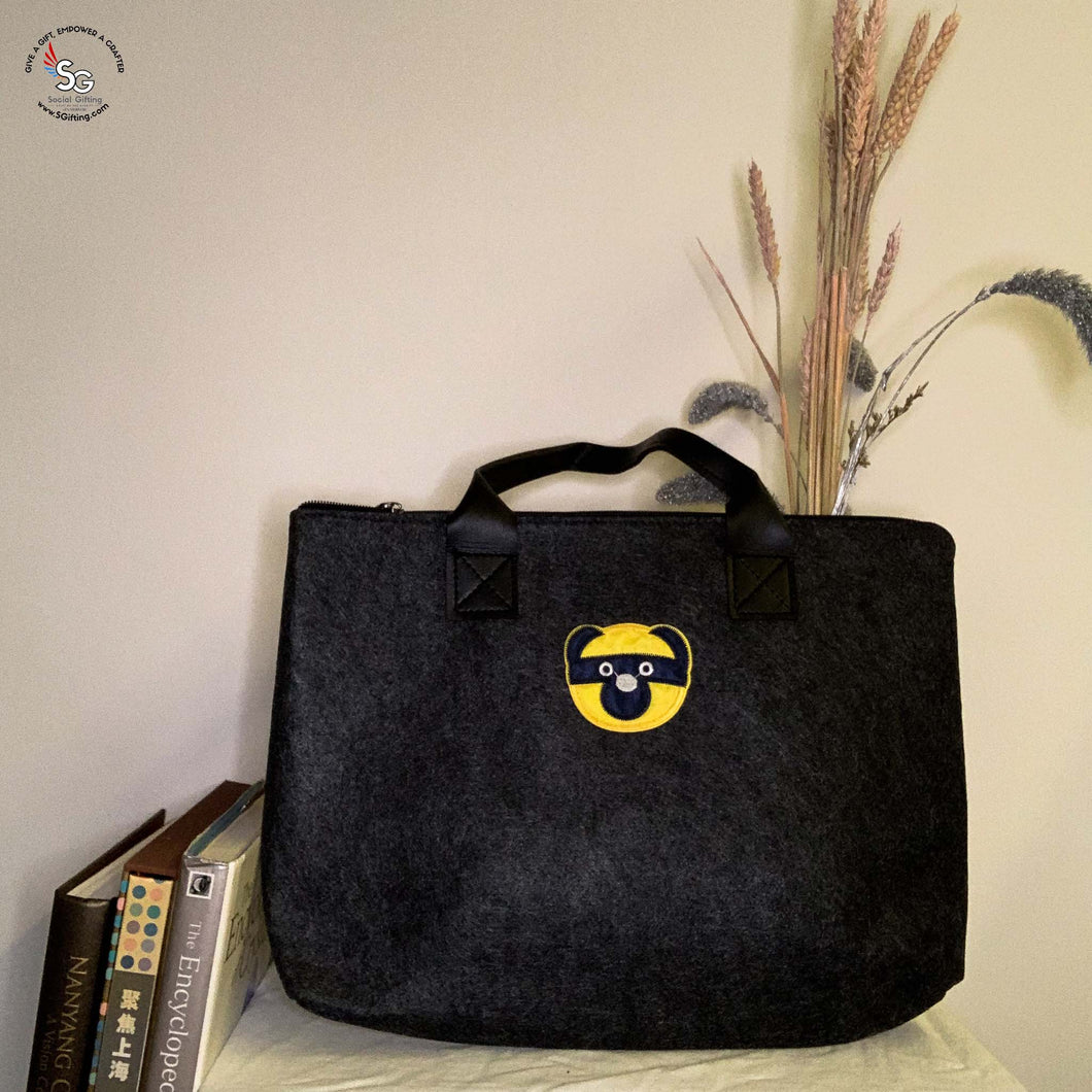 Felt Laptop Bag with Iron-on Patch - C