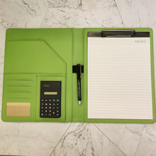 Load image into Gallery viewer, PU Leather Clipboard with Writing Pad, Calculator and Pen