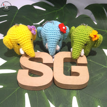 Load image into Gallery viewer, Hand Crocheted Elephant Key Ring