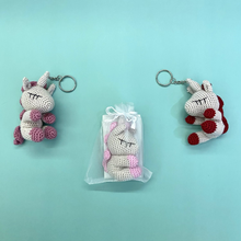 Load image into Gallery viewer, Hand Crocheted Mini Unicorn Key Ring