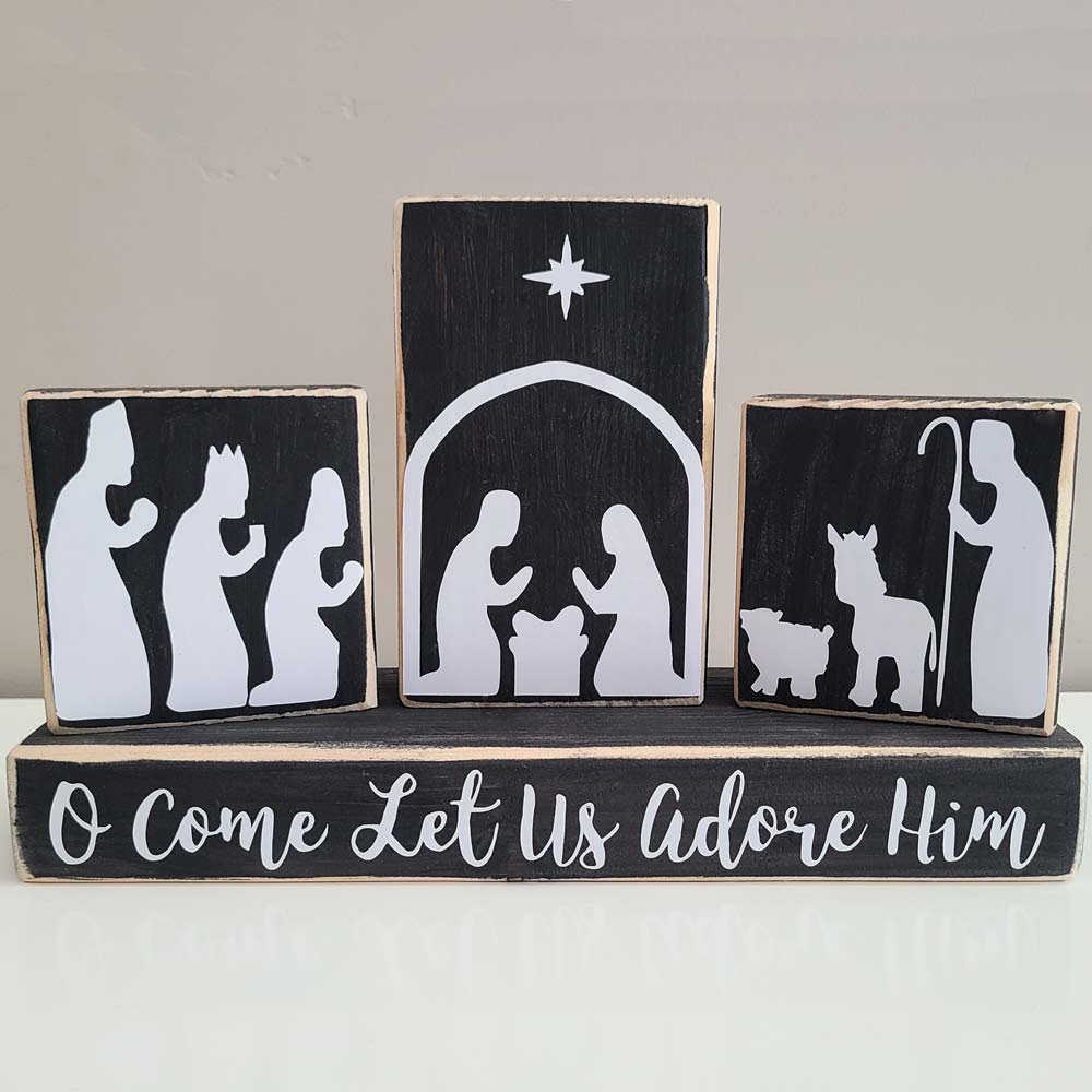 Nativity Scene Decor- Set of 4 Blocks
